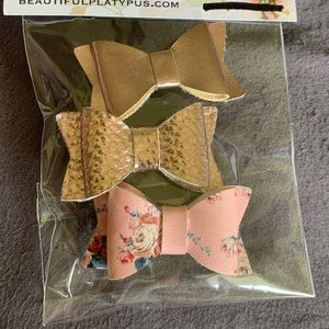 Small Bow Barrettes, 3 Pack, Faux Leather, Pink
